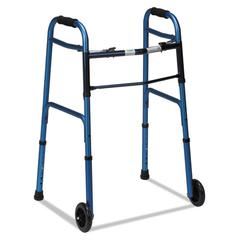 """Two-Button Release Folding Walker with Wheels, Blue/Blue Ice, Aluminum, 32-38""""H"""