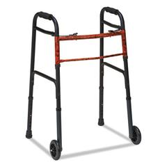 "DMi Two-Button Release Folding Walker with Wheels, Black/Copper, Aluminum, 32-38""H"