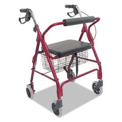 DMi Ultra Lightweight Rollator, Burgundy, Aluminum, Adjustable