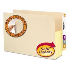 """5 1/4"""" Exp Straight Tab File Pocket w/Tyvek, Legal, Manila, 10/Box"""
