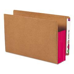 "3 1/2"" Exp File Pockets, Straight Tab, Legal, Red, 10/Box"