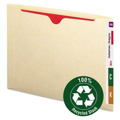 100% Recycled End Tab File Jackets, Letter, Manila, 50/Box