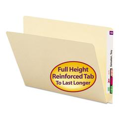 Folders, Straight Cut, Single-Ply Extended End Tab, Letter, Manila, 100/Box