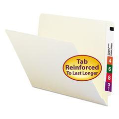 End Tab Folders, Reinforced Straight-Cut Tab, Letter, Manila, 100/Box