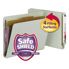 Pressboard End Tab Classification Folder, Letter, 4-Section, Gray/Green, 10/Box