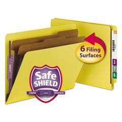 Pressboard End Tab Classification Folders, Letter, Six-Section, Yellow, 10/Box