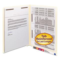 Manila Folders, Fastener Front/Spine, End Tab, Letter, 11 Pt Manila, 50/Box