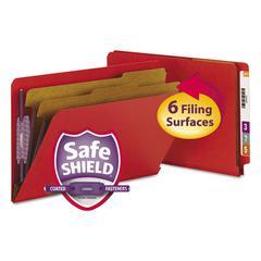 Pressboard End Tab Folders, Legal, Six-Section, Bright Red, 10/Box