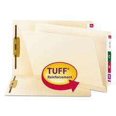 Reinforced End Tab Fastener Folder, Two Fasteners, Letter, Manila, 50/BX