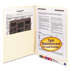 Reinforced End Tab Pocket Folder, Fastener, Straight Cut, Letter, Manila, 50/Box