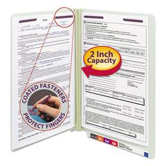 Two Inch Expansion Folder, Two Fasteners, End Tab, Legal, Gray Green, 25/Box