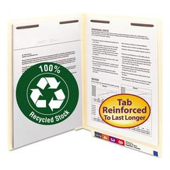 Smead B Style Fastener File Folders, Straight Tab, Letter, Manila, 50/Box