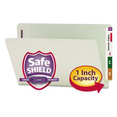 Smead One Inch Expansion Folder, Two Fasteners, End Tab, Legal, Gray Green, 25/Box