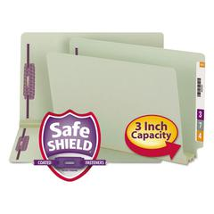 Three Inch Expansion Folder, Two Fasteners, End Tab, Legal, Gray Green, 25/Box
