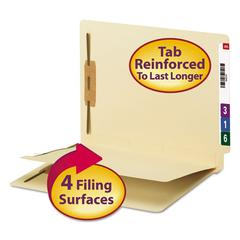 Smead Manila End Tab Classification Folder, 1 divider, Straight Cut Tab, 50/BX