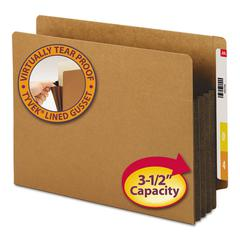 """3 1/2"""" Exp File Pockets, Straight Tab, Letter, Brown, 10/Box"""