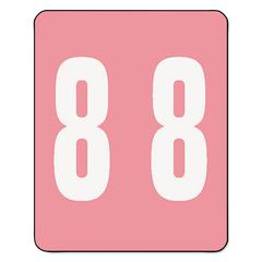 AM100RN Color-Coded Labels, Number 8, 1-1/2w x 1 -7/8h, Pink, 250 Labels/Roll
