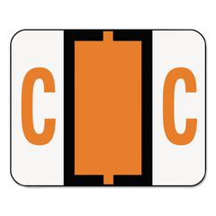 A-Z Color-Coded Bar-Style End Tab Labels, Letter C, Dark Orange, 500/Roll