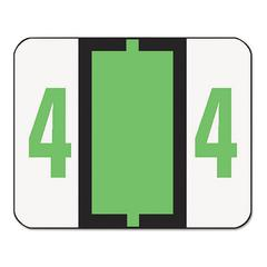 Smead Single Digit End Tab Labels, Number 4, Light Green, 500/Roll
