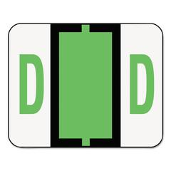 A-Z Color-Coded Bar-Style End Tab Labels, Letter D, Light Green, 500/Roll