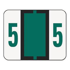 Single Digit End Tab Labels, Number 5, Dark Green, 500/Roll