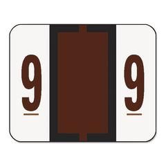 Single Digit End Tab Labels, Number 9, Brown, 500/Roll