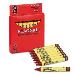Staonal Marking Crayons, Red, 8/Box