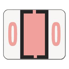 Smead Single Digit End Tab Labels, Number 0, Pink, 500/Roll