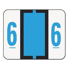 Single Digit End Tab Labels, Number 6, Blue, 500/Roll