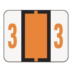 Single Digit End Tab Labels, Number 3, Dark Orange, 500/Roll