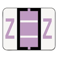A-Z Color-Coded Bar-Style End Tab Labels, Letter Z, Lavender, 500/Roll