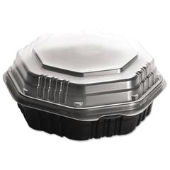 OctaView HF Containers, Black/Clear, 21oz, 7.94w x 7.47d x 2.32h, 100/Carton