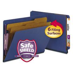 Smead Pressboard End Tab Classification Folders, Letter, 6-Section, Dark Blue, 10/Box