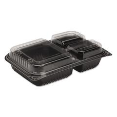 Dinner Box, 3-Comp, Black/Clear, 32oz, 11 1/2w x 8.05d x 2.95h, 100/Carton