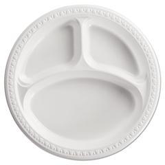 "Heavyweight Plastic 3 Compartment Plates, 10 1/4"" Dia, White, 125/PK, 4 PK/CT"