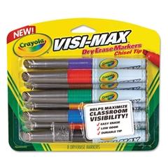 Dry Erase Marker, Chisel Tip, Assorted Colors, 8/Set