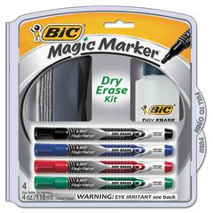 Magic Marker Low Odor & Bold Writing Dry Erase Marker Kit, Bullet, Assort, 4/PK