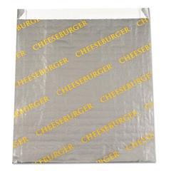 """Foil/Paper Bag """"Cheeseburger"""", 6"""" x 6 1/2"""", Silver, 1000/Carton"""