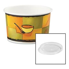 Streetside Paper Food Container w/Plastic Lid, Streetside Design, 8-10oz, 250/CT