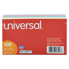 Universal Index Cards, 3 x 5, Blue/Violet/Green/Cherry/Canary, 100/Pack