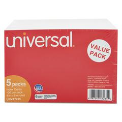 Universal Ruled Index Cards, 4 x 6, White, 500/Pack