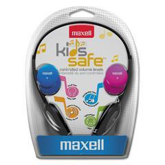 Maxell Kids Safe Headphones, Pink/Blue/Silver
