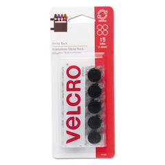 Velcro Sticky-Back Hook and Loop Dot Fasteners on Strips, 5/8 dia., Black, 15 Sets/Pack