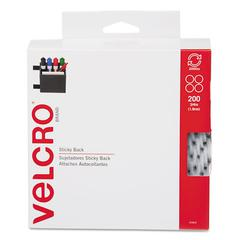 "Velcro Sticky-Back® Fasteners, 3/4"" dia. Coins, White, 200/BX"