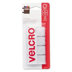 "Velcro Sticky-Back Hook and Loop Square Fasteners on Strips, 7/8"", White, 12 Sets/Pack"