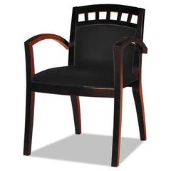 Mercado Series Arch-Back Wood Guest Chair, Mahogany/Black Leather