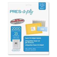 Laser Address Labels, 1/2 x 1 3/4, White, 2000/Pack