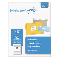 Laser Address Labels, 1 1/3 x 4 1/4, Clear, 700/Box
