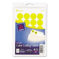 """Avery Printable Removable Color-Coding Labels, 3/4"""" dia, Yellow, 1008/Pack"""