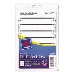 Avery Print or Write File Folder Labels, 11/16 x 3 7/16, White/Black Bar, 252/Pack